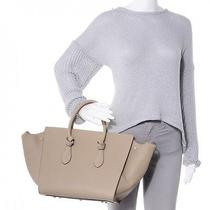 2014 Celine Taupe Tan Beige Drummed Calfskin Leather Small Tie Phantom Bag Photo