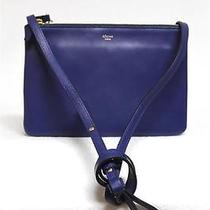 2014 New Celine Trio Small Indigo Cobalt Blue Luggage Leather Messenger Bag Photo