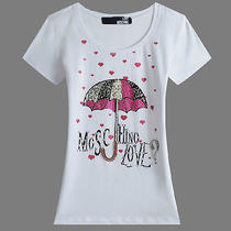 2014 New Hot Top Nwt Vogue Women's Love Moschino Umbrella White T-Shirts Large Photo