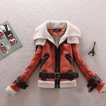 2014 New Women's Pu Leather Fuax Lamb Fur Lined Slim Fit Motor Warm Jacket Coat  Photo