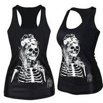 2014 Sexy Womens Digital Print Tank Top Blouse Gothic Punk Clubwear Styles Tee Photo