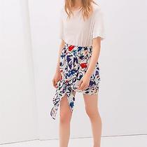 2014 Zara Printed Tie Skirt Blue Red Purple Size S Small Photo