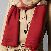 2015 New 1095 Burberry Haymarket Check Cashmere Scarf Classic Red Fringe Nwt Photo