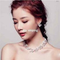 2015 Shining Rhinestone Pearl Necklace Earring Jewelry Party Bridal Wedding Set Photo