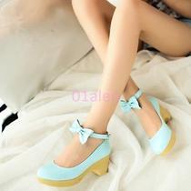 2015 Womens Bowknot Lolita Block Heel Platform Mary Jane Wedding Shoes Plus Size Photo