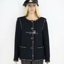 2016 16p Chanel P53402 Navy Blue Tweed Trim Collarless Classic Jacket 46 Photo