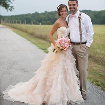 2016 New Blush Pink Ruffles Wedding Dresses Bridal Ball Gown With Sweep Train Photo