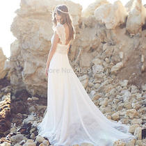 2016 Sexy v-Neck Beach Wedding Dresses Anna Campbell Chiffon Beaded Bridal Gowns Photo