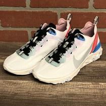 2019 Nike Wmns React Element 55 Blue Hero Sz 6.5 Ck4462-100 White Red Sneaker Photo
