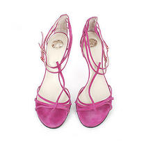 20310 Auth Versace Pink Suede Strappy Sandals 41 10 Photo
