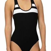 207 Hurley Swim Women's Black Block Party Racerback One-Piece Swimsuit Size S Photo