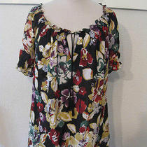 208 Joie Masha Top Vintage Floral Silk Peasant Blouse M (8 10) Photo