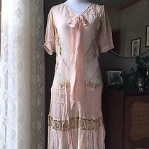 20s Dress Silk Crepe Alencon Lace Blush Pink Flapper Dress 1920s Repair as Is Photo