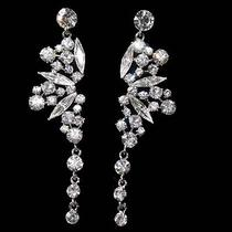 20s Prom Glam Pave Bridal Chandelier Earrings Made With Swarovski Crystal Photo