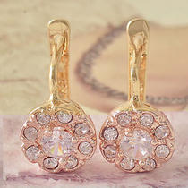 2111mm 9k Rose Gold Filled Cz Ladies Trendy Earrings  F3903 Photo