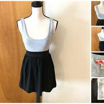 21 Jr Misses M Gray Tank Bodice Black Skirt Rayon Dress Wide Elastic Waist  Photo