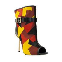 2100 Sergio Rossi Multi Colored Pony/leather Open Toe Short Boot Size 38 / 8 Photo