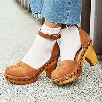 215 New Free People / Jeffrey Campbell 7  Daubs Clogs Cognac Suede High Heel Photo