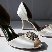 215 Sz 10 Badgley Mischka Lacie White Jeweled Heels Womens Wedding Shoes  Photo