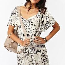 21h/m White Leopard Animal Print Romper Forever American Apparel Size Xs Photo