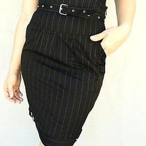 220 Moschino Jeans Black Stripped High Waisted Pencil Skirt Size 42 / Us 6 Photo