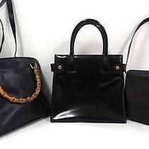 2209 Gucci Leather Bamboo Top Handle 3setlot Black Patent Shoulder Hand Bag Junk Photo