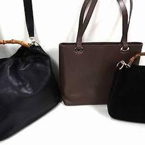 2212 Gucci Leather Bamboo Top Handle 3set Lot Black Tote Shoulder Hand Bag Junk Photo