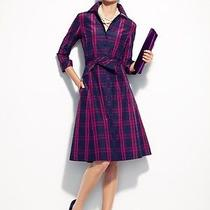 224 Nwt Talbots Gala Silk Plaid Taffeta Dress 24w 3x Photo