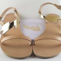 225 Ancient Greek Women Sandals Fotini Leather Lightning Bolt Sz 39. Nib.  Photo