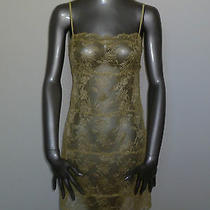 225 Gold Josie Natori Sheer Floral Nightgown Short Gown 0 2 Extra Small Nwt Xs Photo