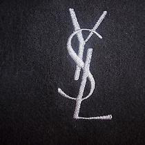 225 New Yves Saint Laurent Ysl Logo Black Wool Scarf Italy Photo