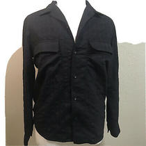 225 Theory Long Sleeve Flannel 2 Front Pockets Button-Down Black Top Shirt Xl Photo