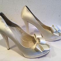 225 Vera Wang White Open Toe Platform Wedding Shoes 9 1/2 M Photo
