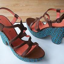 225 via Spiga Cai Shoes Wedge Platform Espadrille Leather Sz 9.5 New Photo