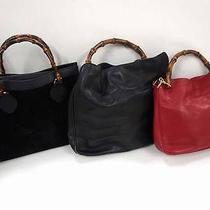 2257 Gucci Suede Leather Bamboo Top Handle 3 Set Lot Black Red Hand Bag Junk Photo