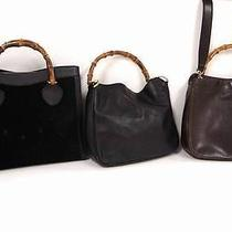 2260 Gucci Suede Leather Bamboo Top Handle 3 Set Lot Black Brown Hand Bag Junk Photo