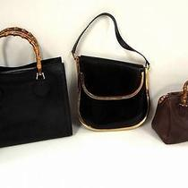 2264 Gucci Leather Bamboo Top Handle 3set Lot Black Brown Shoulder Hand Bag Junk Photo