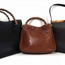 2265 Gucci Leather Bamboo Top Handle 3set Lot Black Brown Shoulder Hand Bag Junk Photo