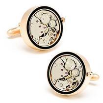 22mm Matte Rose Gold & Onyx Inlaid Watch Movement Cufflinks Photo