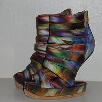 244 New sz.6 Jeffrey Campbell Shoes Sandals  on Deck Rainbow Swirl Multi Color Photo