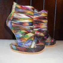 244 New sz.6 Jeffrey Campbell Shoes Sandals  on Deck Rainbow Swirl Multi Color Photo