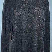248 Joie Sheer Silk Back Gray Long Sleeve Scoop Neck Sweater Knit Top Sz S Nwt Photo