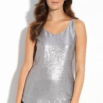 248 Nwt Eileen Fisher Antique Sequin Silk Antique Silver Dbl v Neck Shell M Photo