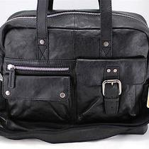 248 Nwt Fossil Decker Black Leather Work Travel Laptop Carryon Bag Sml1186001 Photo