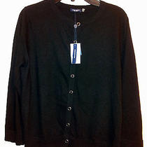 248 Womens Magaschoni Button Up Cardigan 100% Cashmere Sweater Black Medium Photo