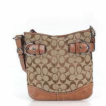 250 Coach Monogram c's Leather Brown Tan Classic Shoulder Bag Buckle Purse Photo