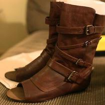 250 Dolce Vita 'Parker' Open Toe Leather Mid Calf Boots Brown / Marrone Sz 9  Photo