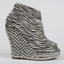 250 Jeffrey Campbell Tick Zebra Fur Wedge Platform Shoes 9 Silver Studded Heel Photo