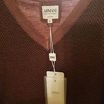 250 Nwt Armani Collezioni Rare Design Luxury Wool Sweater Xl Burgandy  Photo
