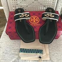 258 Tory Burch Jessa Thong Sandals Perfect Navy Size 7  Photo